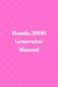 Honda 2000 Generator Manual
