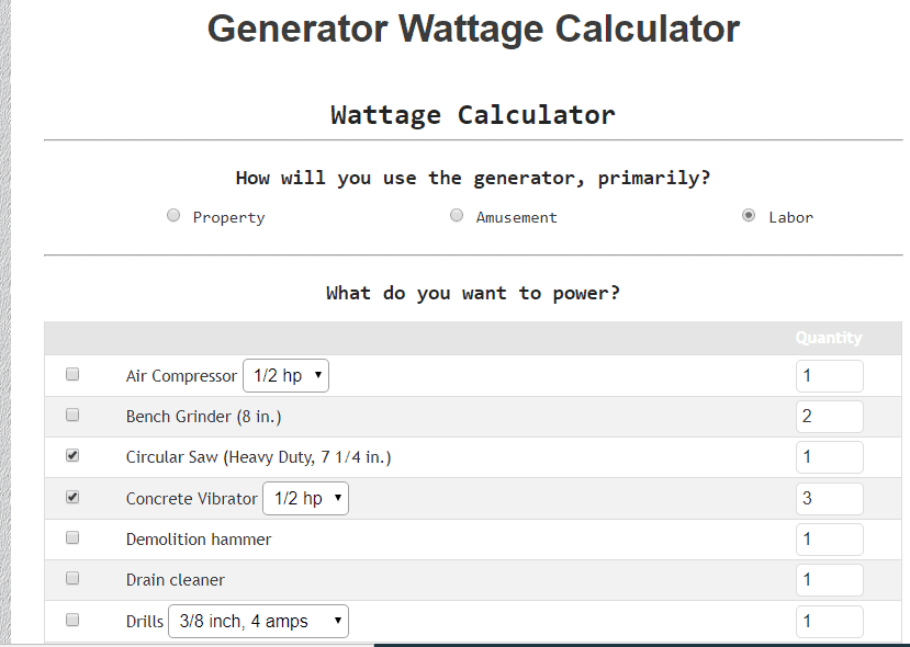 generator wattage calculator (labor)