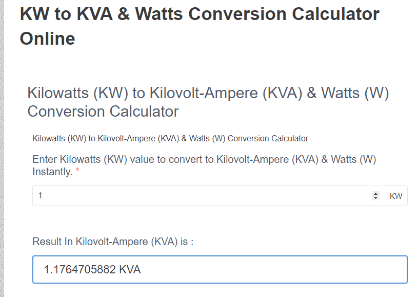 kw to kva