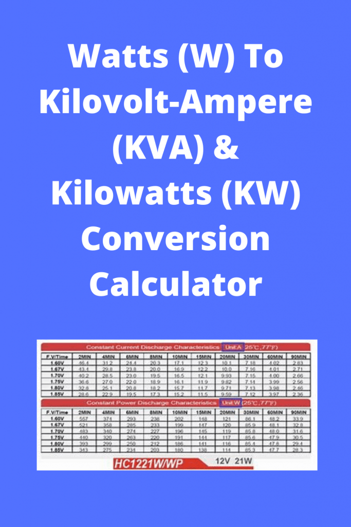 Watts (W) To Kilovolt-Ampere (KVA) & Kilowatts (KW) Conversion Calculator Tips